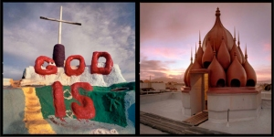 God Is, Salvation Mountain, Slab City / Rooftop tower, Vedanta Old Temple, San Francisco – Michael Rauner